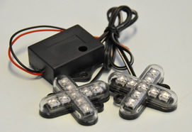 LED แคปคูนคู่ 2x9 Led with flash Controller 12V DC - Cross Shape
