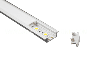 Y-A001 Super slim 8mm recessed aluminum LED profile with flangeOption: 1.PMMA opal matte diffuser2.PMMA semi-clear matte diffuser3.PMMA clear diffuser