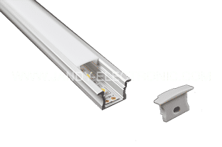 Y-A003-F 15 mm recessed aluminum LED profile with flangeOption: 1.PMMA opal matte diffuser2.PMMA semi-clear matte diffuser3.PMMA clear diffuser
