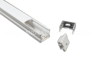 Y-A004-F 15 mm recessed aluminum LED profile with flangeOption: 1.PMMA opal matte diffuser2.PMMA semi-clear matte diffuser3.PMMA clear diffuser