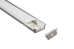 Y-A013 10 mm deep aluminum LED profile with flangeOption: 1.PMMA opal matte diffuser2.PMMA semi-clear matte diffuser3.PMMA clear diffuser