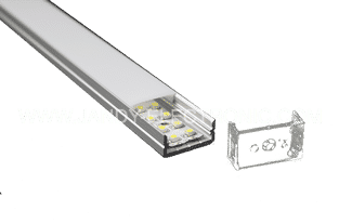 Y-A014 10 mm deep aluminum LED profile with flangeOption: 1.PMMA opal matte diffuser2.PMMA semi-clear matte diffuser3.PMMA clear diffuser
